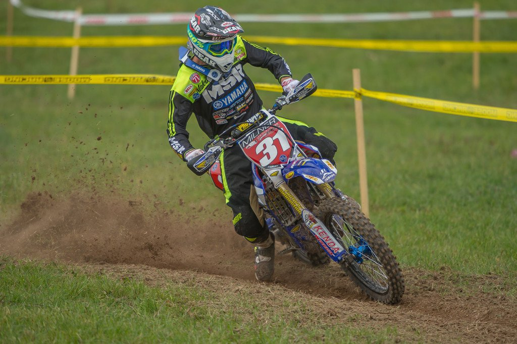 Daniel Milner was fast in the cross test but uneasy in the enduro test and unable to keep his win streak alive.